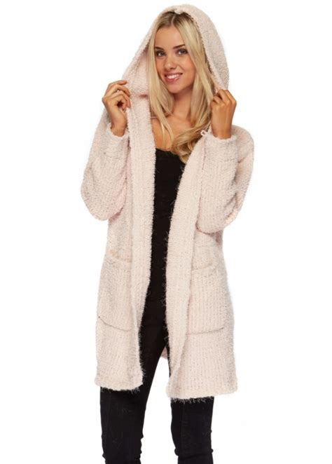baby chunky knit cardigan baby pink hooded cardigan coat pink cosy knitwear