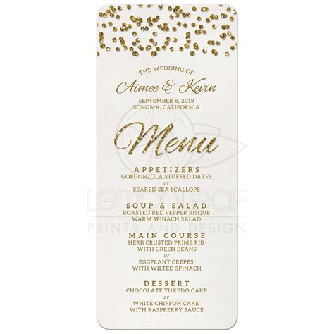 gold lace formal elegant wedding dinner menu 4x9 25 wedding menu glamorous glitter look confetti dots