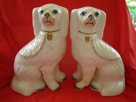 staffordshire dogs pair of white staffordshire dogs 19 century from problem1 on ruby