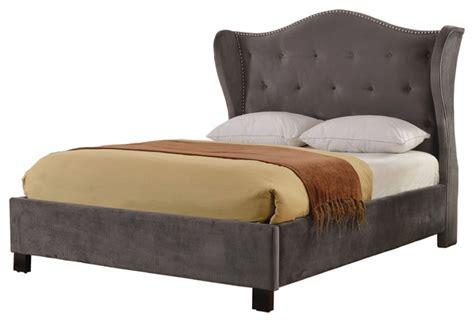 wingback platform bed juliette gray suede wingback platform bed transitional