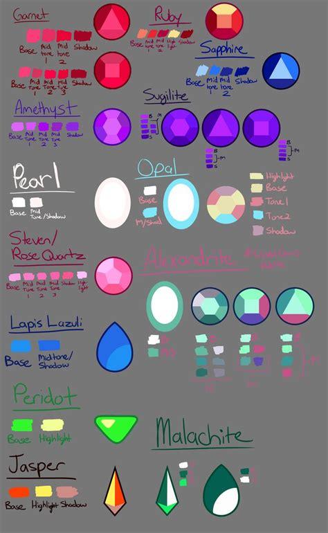 gem colors steven universe gem guide 2 gem color pallette by dyw14