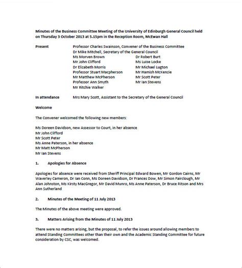 sle minutes of meeting template committee meeting template 28 images committee meeting