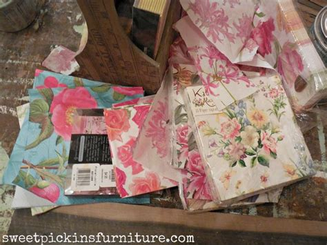 Napkin Decoupage On Wood - 51 best images about wallpapered furniture on