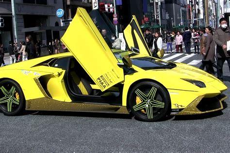 Pimped Lamborghini Aventador Pimped Out Yellow Lamborghini In Ginza On A Crowded
