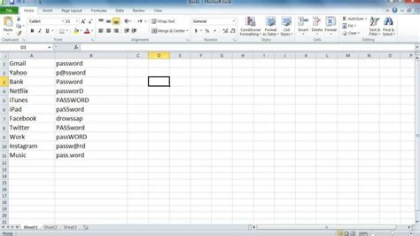 Password Spreadsheet Spreadsheet Templates For Business Password Spreadshee Document Password Password Template Excel