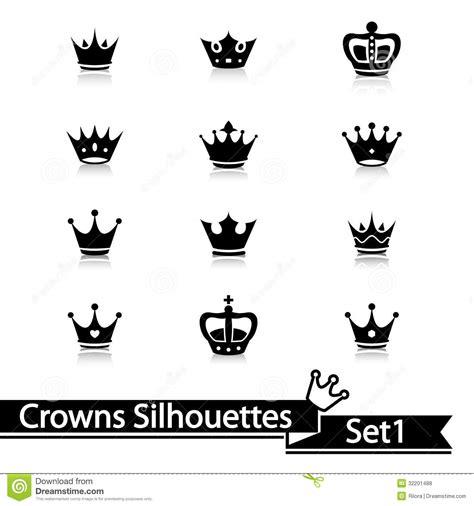 crown collection vector silhouette royalty free stock