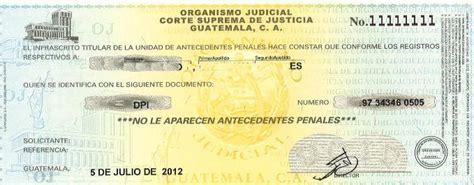 papeles para la carta de antecedentes no penales 2016 carencia de antecedentes penales