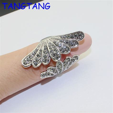 new grace fashion cute angel wings cubic zirconia micro pave setting wedding finger rings for