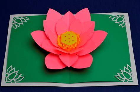flower pop up card templates lotus flower pop up card template creative pop up cards