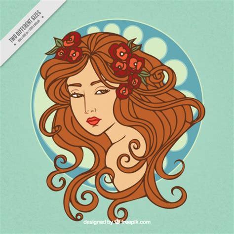 imagenes mujeres art deco donna sketchy con lunghi capelli sfondo in stile art