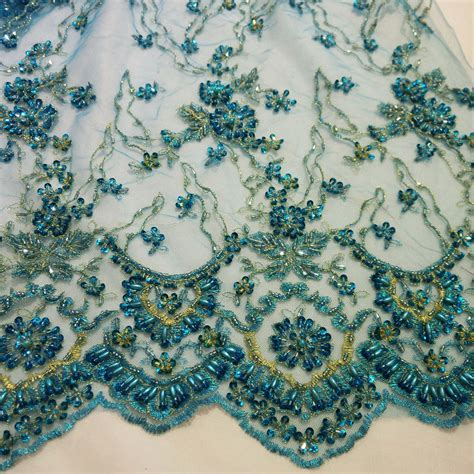 embroidery and on fabric turquoise handmade embroidery lace bead pearl