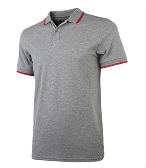 gray with trim collar solid polo t shirts for