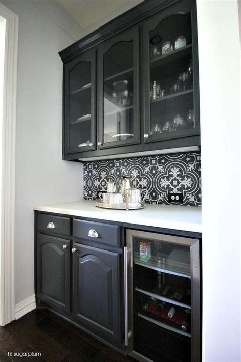 black kitchen backsplash black and white butler pantry tile backsplash