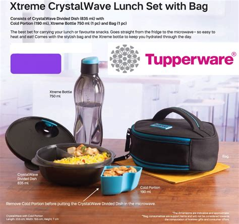 Tupperware Xtreme Set tupperware lunch box snack container with aquasafe eco