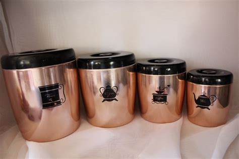 vintage retro canisters copper colored west bend