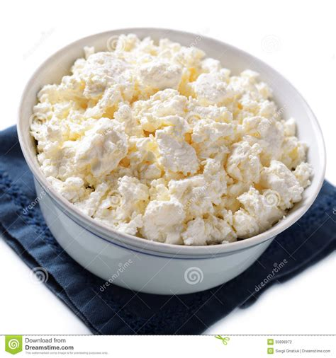 bowl of crumbly cottage cheese stock photo image 35896972