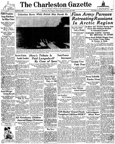 the charleston gazette maritimequest admiral graf spee front pages page 10