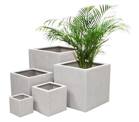 Pot Bunga Uk 40cm vaso di forma cubica con finitura in poly terrazzo colore