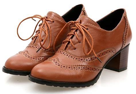 Boots Oxford Kulit Brown black brown school oxfords lace up high heels