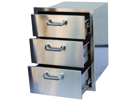 outside storage drawers outdoor greatroom stainless steel triple drawer storage