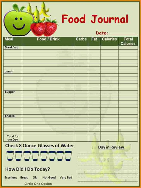 printable food journal for students food log template printable in excel format excel template