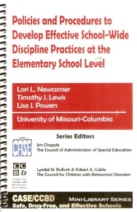effective discipline in the home and school books policies and procedures to develop effective school wide