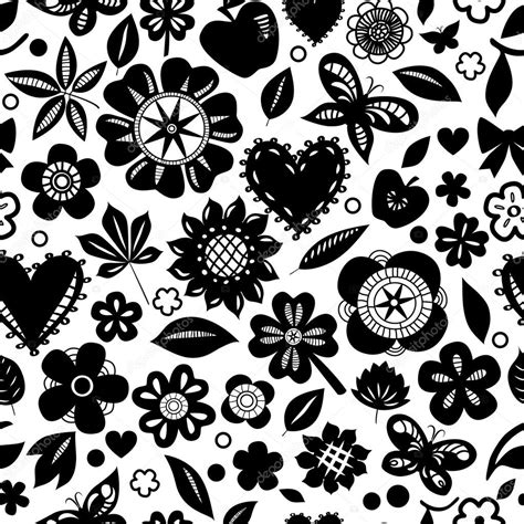 fiori bianchi e neri fiori bianchi e neri e cuori silhoettes seamless pattern