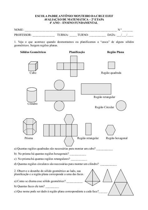 figuras geometricas quarto ano matem 225 tica 4 ano 2 etapa