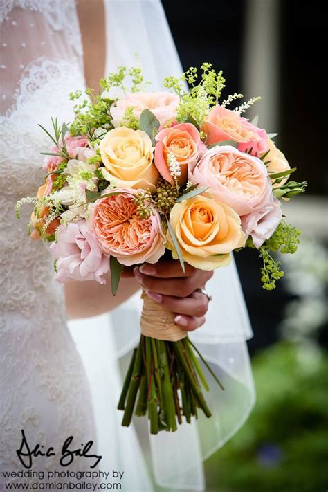 david austin mixed pink bridal bouquet bridal bouquet of miss piggy roses peach avalanche roses