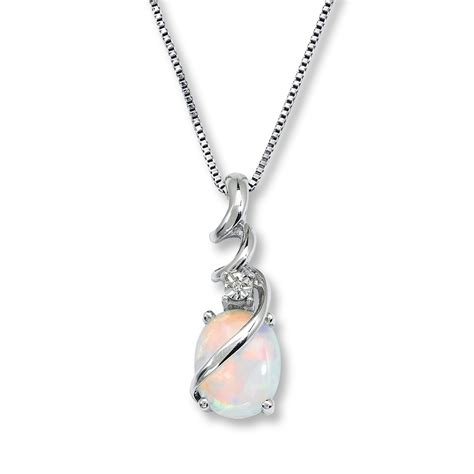 lab created opal necklace accent sterling silver