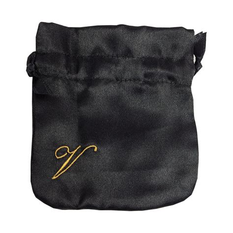 Embroidered Drawstring embroidered black satin drawstring jewellery bag luxury