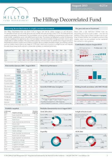 fund fact sheet template hilltop decorrelated fund august 2013 factsheet