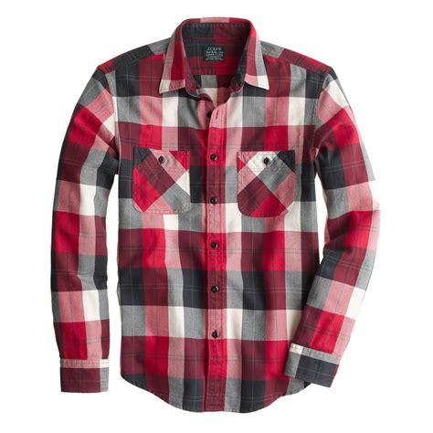 Flanel Tops slim flannel shirt in chili powder herringbone plaid j crew