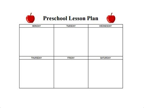 nursery lesson plan template preschool lesson plan template 11 free pdf doc
