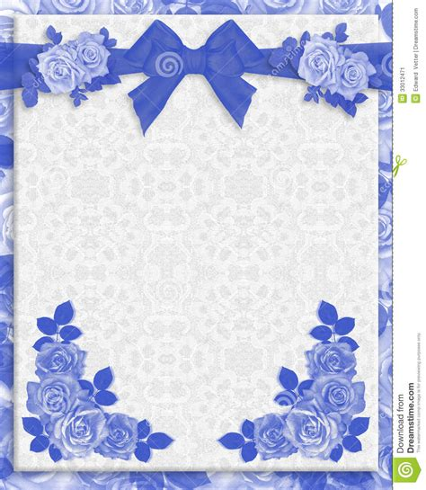 wedding invitations borders blue blue roses wedding invitation stock illustration illustration of illustrated floral 33012471