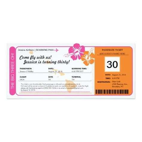 hawaii birthday boarding pass invitation card