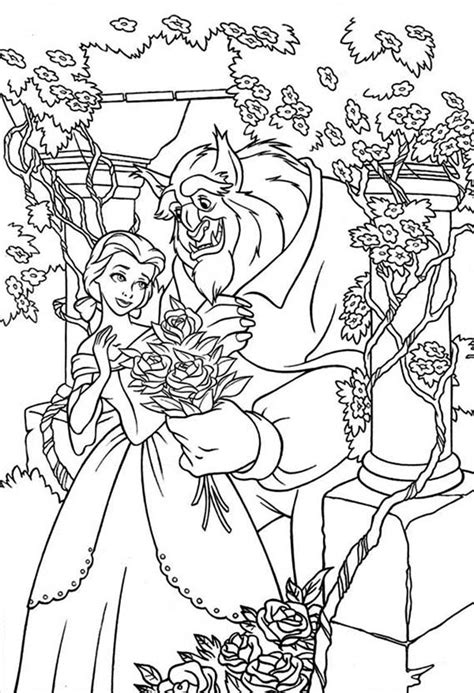 belle   beast   rose garden coloring page