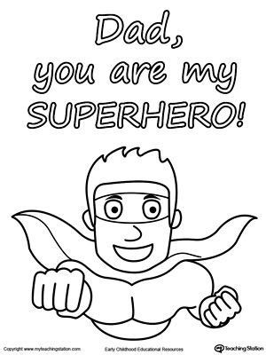 happy birthday superhero coloring pages father s day card you are my superhero worksheets