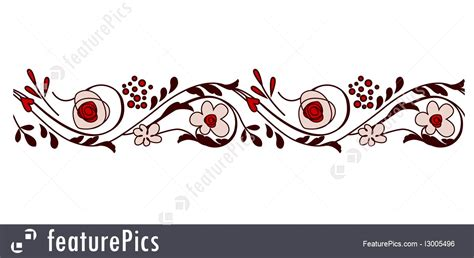 abstract patterns seamless horizontal border  flowers