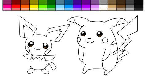 learn colors for and color pikachu and pichu