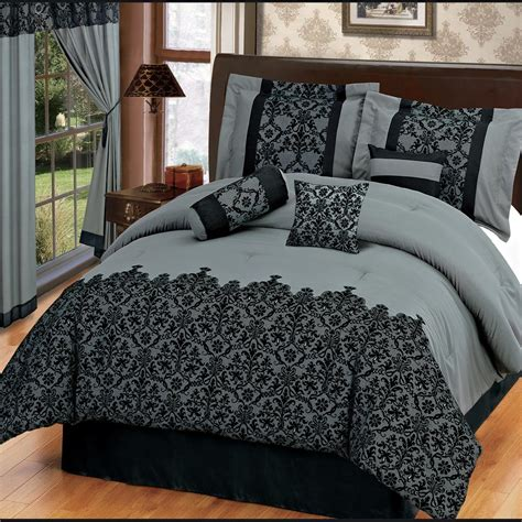 bed in a bag sets with matching curtains 15pc gray flocking comforter noble set w matching