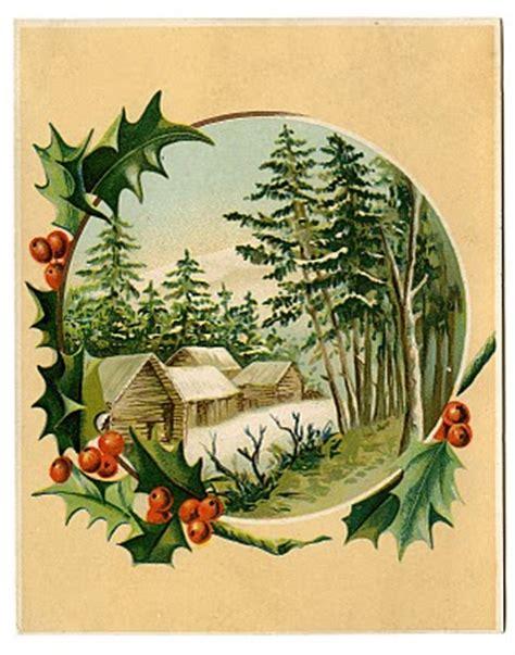 vintage christmas clip art winter scene holly frame