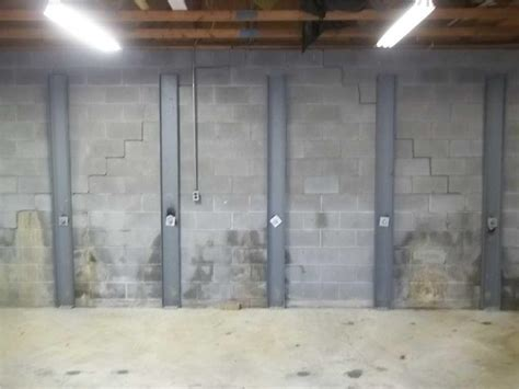 basement wall bowing baker s waterproofing foundation repair photo album basement wall bowing in weirton wv