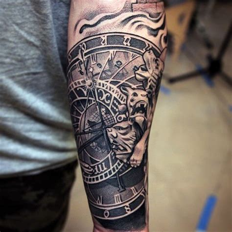 mens sleeve tattoo designs black and grey clock movement tattoos mens forearm sleeves black and