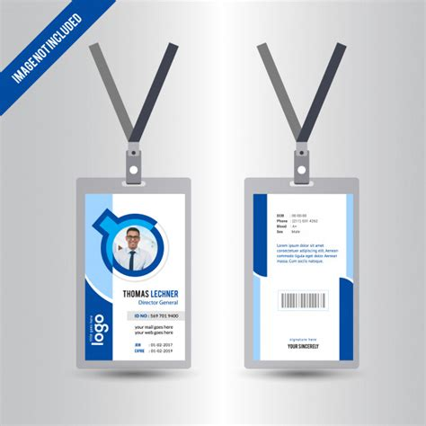 blue id card template blue simple id card design template id card vectors photos