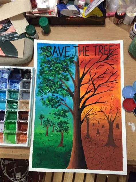 themes drawing competition save the tree poster colour art pinterest