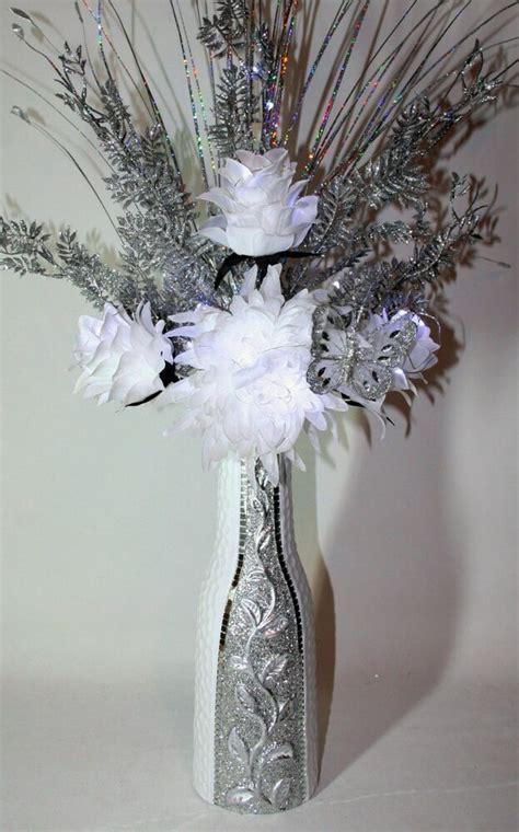 artificial silk arrangement white silver flowers  lights glitter vase cm ebay