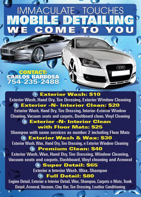 auto detailing flyer template mobile car wash business cards www pixshark images