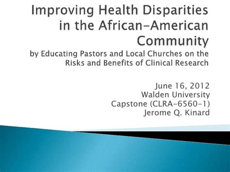Improving health disparities in the african american community by edu