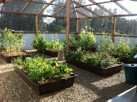 Oak Trellis Enclosed Vegetable Garden House Design With Gravels And